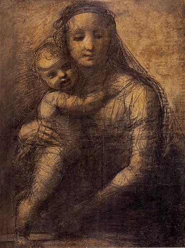 1511  Raphael    Cartoon for the Mackintosh Madonna  Black chalk  71x53,5 cm  Londres, British Museum