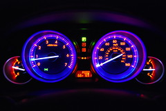Driving-0014 (awinner) Tags: blue car lights driving 2009 odometer blueroom 8000 mazda6 bluelights spedometer anawesomeshot mazda6i january2009 january272009 8000miles