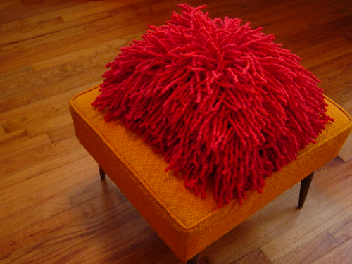 Poppy red rya shag wool felt pillow