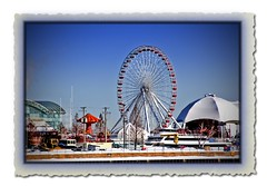 Ferris Wheel - Navy Pier, Chicago (C. Vizzone) Tags: city blue windows winter red sky orange chicago cold color glass lines car yellow metal season amusement pier searchthebest steel curves tent best cover ferriswheel navypier activ