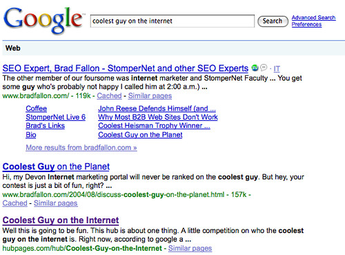 Coolest Guy on the Internet SERPs day 1