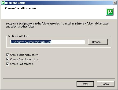 Instalando o uTorrent - Tela 1