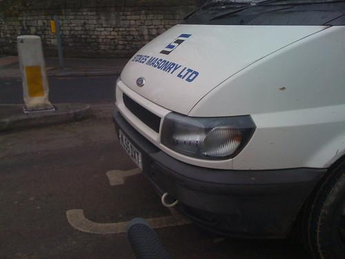 Stokes Masonry Ltd van in Advanced Stop Line zone
