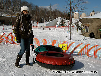 Rachel with her red sled