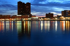 Baltimore Sunset - Inner Harbor (_Brian_Taylor_) Tags: sunset color water beautiful reflections lights harbor md colorful maryland baltimore inner