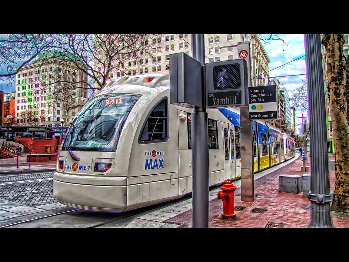 Testing the New Max Train, Portland Downtown, Oregon - HDR Topaz Adjust