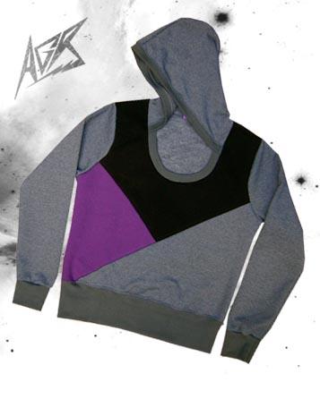Hoodie Combinado Negro, Violeta y Gris
