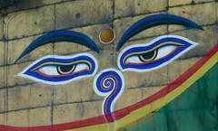 Swayambhunath, Katmandu, Nepal (balavenise) Tags: nepal eyes shrine god buddha prayer religion compassion buddhism katmandu swayambhunath prire devnagari  flickrgiants