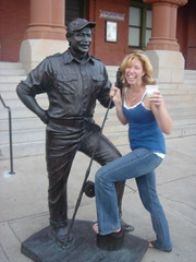 Cathie with the Statue at Mallory Square in Key West