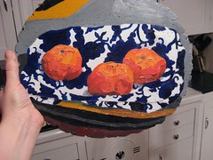 4 (ohyeth2008) Tags: stilllife painting myart oranges tulsa clementines oilpainting phases blueorange coolfabricpatterns lookatemlines
