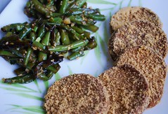 Seitan Cutlets and Teriyaki Green Beans
