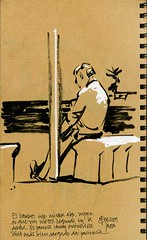 Old patient man at the seafront (freekhand) Tags: sea beach oldman patient brushpen javea uniposca
