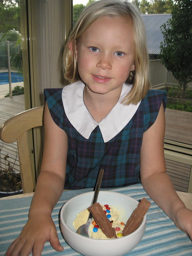 Christy with ice-cream sundae