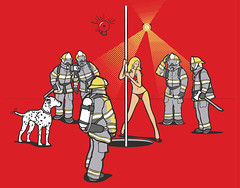 Wrong Pole (davidfromdallas) Tags: art funny graphic fireman stripper vector poledancer firepole wrongpole