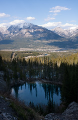 (Arafinw) Tags: mountains tree nature canon landscape alberta paysage canmore arbre montagnes waterreflections canadianrockies 450d