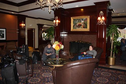 The lobby at Hampton Inn Sterling