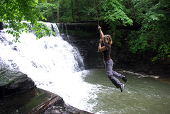 Susan on the Rope Swing at Window Cliffs Falls, Putnam Co, TN (Chuck Sutherland) Tags: county cane creek waterfall tn pentax susan tennessee rope falls swing putnam k10d