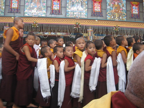 Small monks in queue to receive blessings, by Lopon Tshultrim Tentar