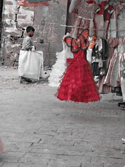 Red Dress 2 (M!) Tags: red butterfly children dress shops yemen soog bab alyemen almelh