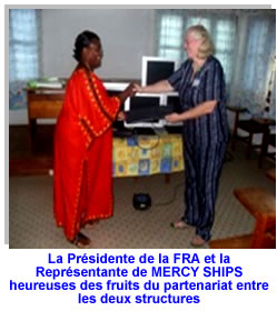 Mercy Ships makes a donation of  5 used computers to FRA