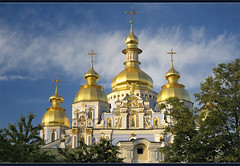 St. Michael's Golden-Domed Monastery (Kyiv, Ukraine) (OleksiyM) Tags: trip travel vacation sky building heritage history church architecture geotagged golden evening construction arquitectura nikon europe day iglesia ukraine cathdrale monastery baroque soir kyiv  eglise monastre ua worldheritage  d300 byzantinestyle historicalsites   mdival           egliseorthodoxe oekrane  omot iglesiaortodoxa   ukrainianbaroque ukrainie discoveryphotos flickrunitedaward