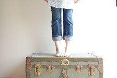 (Stephanie Caldwell) Tags: light green feet vintage jeans oldtrunk benchmonday