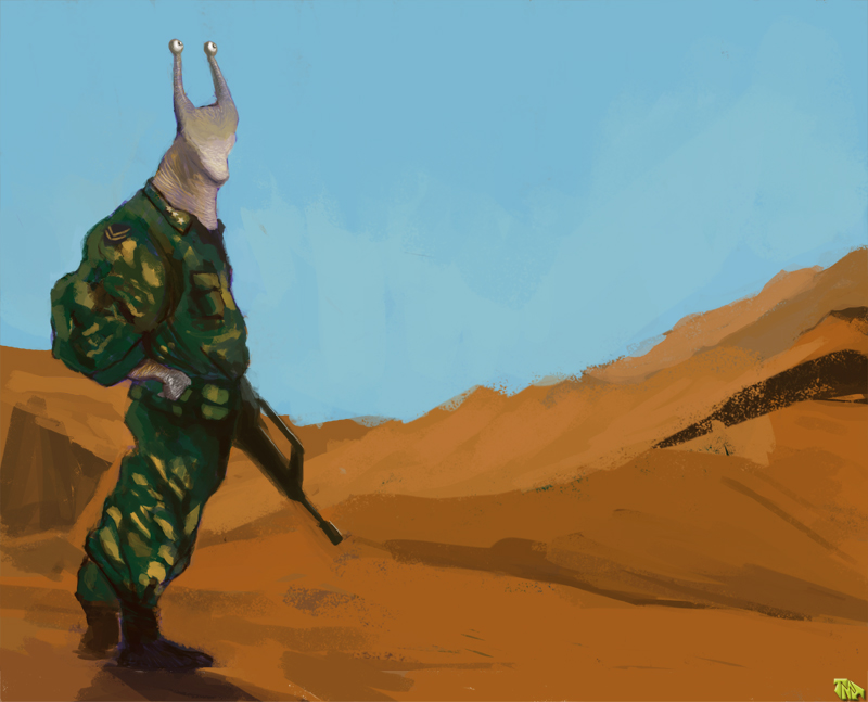 DSG 1485: Creature/Characters from my Memory • SLUG-HEADED DESERT SOLDIERS IN GEAR