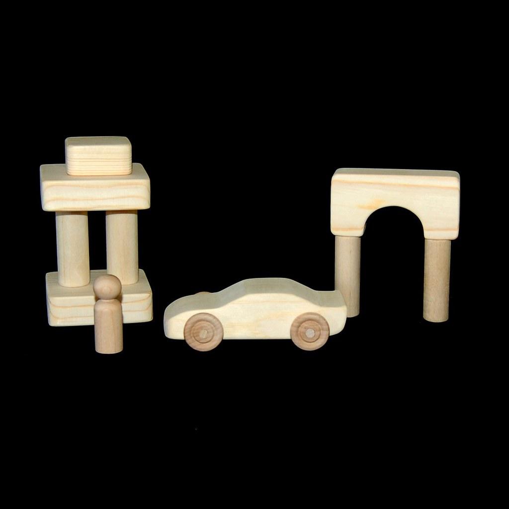 Wood Toy Race Car Play Set