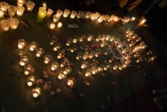 Neda spelled out in candles at June 21 vigil i...