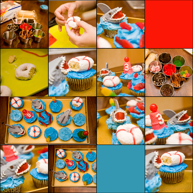 shark cupcakes collage
