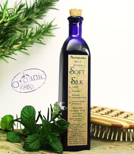 Organic Hair Rinse Herbal and eco-friendly 4 oz recycled blue glass bottle