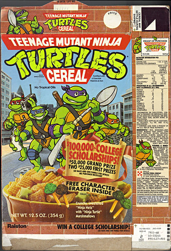 "Ralston ""Teenage Mutant Ninja Turtles"" Cereal - '$100,000 in COLLEGE SCHOLARSHIPS!' i (( 1991 ))"