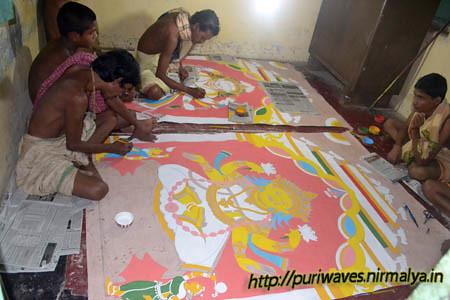 Chitrakara Sebakas are preparing Patachitra
