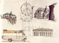 Collage (Flaf) Tags: colour berlin water st pencil dresden zwinger drawing florian michel friedrichshain cottbus barock gerard nikolai freie staatstheater johanneum oberkirche schillerstrase afflerbach zeichnerei