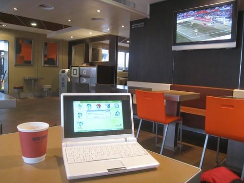 Taking advantage of 30 minutes of free wifi at the posh Interlaken McDonald's