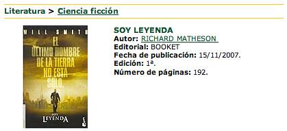 Captura de un libro cuya portada es la de la película, Soy Leyenda de Richard Matheson de la editorial Booket