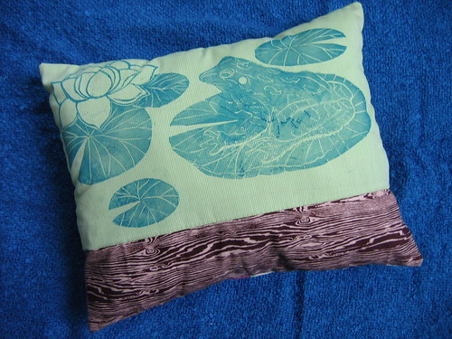 frog and lily cushion