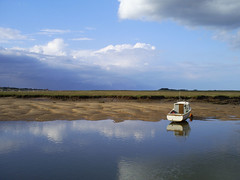 Wells-Next-The-Sea (lex) Tags: blue sea wild sky cloud reflection nature water clouds boats coast boat fisherman sailing north norfolk samsung wells creepy sail coastline marsh wellsnextthesea digimax a503