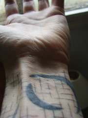 Wrist grid (the_dan) Tags: black tattoo grid grey sketch brighton arm tattoos elbow scrawl wrist moons sleeve nigelpalmer ninetattoo