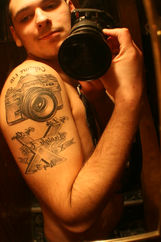 camera ,straight edge tattoo by Chad Morgan