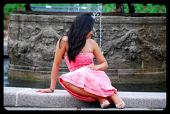 By The Fountain (Jason Nunez) Tags: city pink portrait ny newyork sexy green fountain girl beautiful beauty hair still model nikon girlfriend long pretty sad dress legs manhattan empty peaceful lips cheeks lonely elegant d60 nikonian nikond60 platinumphoto colourartaward jasonnunez jasonnunez23