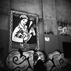 think & create (cHr1st1an S images) Tags: street city italy white streetart black 120 film vintage poster blackwhite lomo lomography paint flickr milano think diana create visual destroy analogic blackwhitephotos passionphotography mywinner abigfive anawesomeshot theunforgettablepictures chr1st1ans christiansorrentino