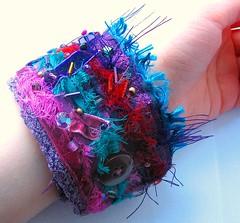 Cirque de Paris textile wrist cuff fastening detail (fancypicnic) Tags: silk velvet bracelet cuff wristcuff bocage fabricjewellery selvedge textilejewellery
