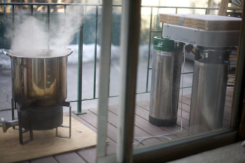 the wort boiling, and the beef jerky drying