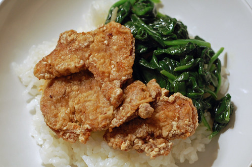 Taiwanese Fried Pork Tenderloin with Spinach and Rice 3