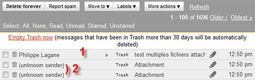 gmail pieces jointes poubelle