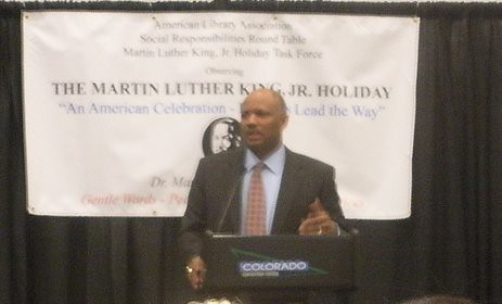 Dwight D. Jones speaking at the Martin Luther King, Jr. Holiday Sunrise Observance