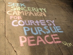 Sidewalk Chalk = Inspiration (coreymariecom) Tags: life inspiration public chalk peace grafitti quote happiness sidewalkchalk courtesy sincerity positivity