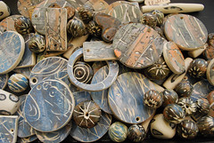 Hand painted beads and pendants (Barbara Lewis) Tags: art ceramic carved hand oneofakind painted clay wearable pigment stoneware underglaze