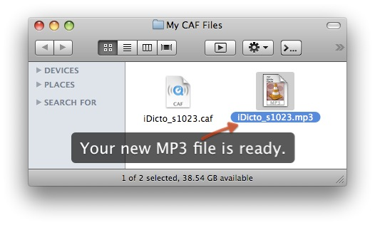 Your new MP3 file is ready